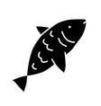 raw fish glyph icon marine cuisine fishing hobby vector image vector image