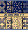 set blue and gold oriental patterns vector image vector image