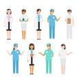 set of different types of doctors in medical vector image vector image