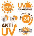 set uv sun protection and anti uv vector image vector image
