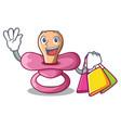 shopping newborn is sucking a pacifier cartoon vector image vector image