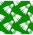 shuttlecock icon with feathers seamless pattern vector image vector image