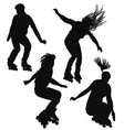Silhouette of young people rollerblading vector image vector image