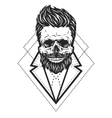 Skull hipster style vector image