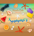 summer party background top view on fresh starfis vector image vector image