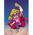 super girl flying sky background vector image vector image