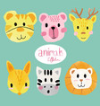 watercolour cute animal faces vector image vector image