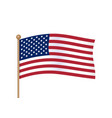 waving american flag on pole usa flag vector image vector image
