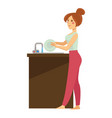 woman washing dishes in sink daily routine vector image vector image