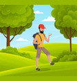 young guy tourist with compass and backpack green vector image