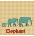African elephants is done in a retro styl vector image