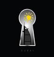 dubai icon travel behind keyhole vector image