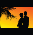couple with palm silhouette vector image
