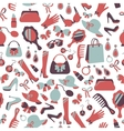 Seamless woman accessories background vector image