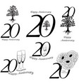 anniversary 20th signs collection vector image vector image