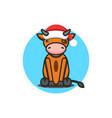 baby bull wearing santa claus hat symbol 2021 vector image