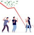 bankruptcy financial crisis falling chart upset vector image
