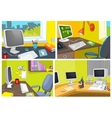 cartoon set of office workplace backgrounds vector image
