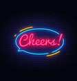 cheers neon sign beer party celebration vector image