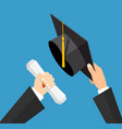 concept of education graduation hat and diploma vector image vector image