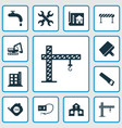 construction icons set with crane putty knife vector image vector image