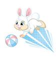 cute jumping dynamic rabbit cartoon character vector image