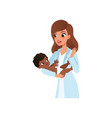 female pediatrician in white coat holding little vector image