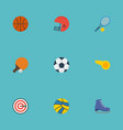 flat icons blower rocket table tennis and other vector image vector image