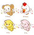 Flying chickens and monkey dogs and pigs mascot vector | Price: 3 Credits (USD $3)