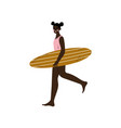 girl surfer walking on beach with surfboard vector image vector image