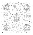 halloween with pumpkins ghosts candy corns vector image vector image