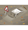 Isometric White Car Flooden in Two Positions vector image vector image