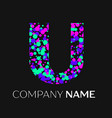 letter u logo with pink purple green particles vector image