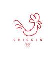 line art chicken and sauce bottles design template vector image