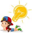 Little girl with lightbulb on her head vector image