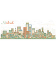 madrid spain skyline with color buildings vector image vector image