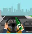 man using alcohol while driving a car is a vector image vector image