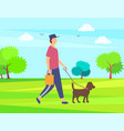 man walking with pet green park or forest vector image vector image