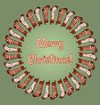 merry christmas stockings wreath vector image vector image