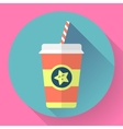 Paper coffee cup with straw Flat style design vector image vector image