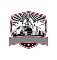 pick-up truck and oil derrick shield badge retro vector image