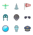 Pilot icons set cartoon style vector image vector image