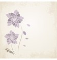Purple flower on old paper background vector image vector image