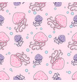 purple jellyfish sea travel seamless pattern vector image vector image