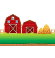 Red barns on the farm vector image vector image