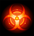 Red Glowing Biohazard Sign on black background vector image vector image
