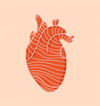 red human heart with lines