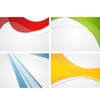 Set of abstract wavy and striped bright vector image vector image