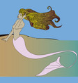 sexy long haired mermaid sunbathing vector image vector image