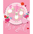 sheep pink card 380 vector image vector image